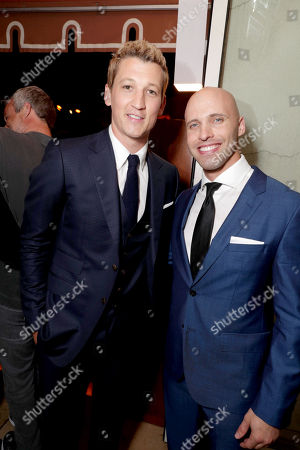 "Stock Photo of Exclusive - Miles Teller and David Packouz seen at Warner Bros. Present the Los Angeles Premiere of ""War Dogs"" at TCL Chinese Theatre, in Los Angeles"