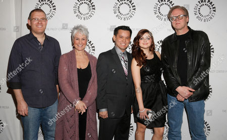 "Bob Goodman, Andrea Romano, Jay Oliva, Ariel Winter and Bruce Timm attend the west coast premiere of ""Batman: The Dark Knight Returns, Part 2"" at The Paley Center for Media on in Beverly Hills, California"