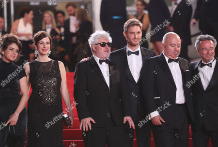 Erica Rivas, Maria Marull, Pedro Almodovar, Damian Szifron and Oscar Martinez for the screening of Wild Tales (Relatos Salvajes) at the 67th international film festival, Cannes, southern France