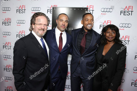 AFI President and CEO Bob Gazzale, Director/Writer Peter Landesman, Will Smith, and AFI Fest Director Jacqueline Lyanga seen at World Premiere Gala Screening of Sony Pictures 'Concussion' at AFI Fest 2015 at TCL Chinese Theatre, in Hollywood, CA