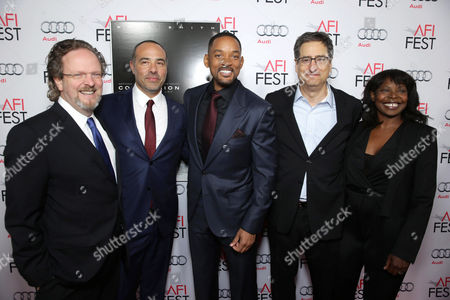 AFI President and CEO Bob Gazzale, Director/Writer Peter Landesman, Will Smith, Tom Rothman, Chairman, Sony Pictures Motion Picture Group, and AFI Fest Director Jacqueline Lyanga seen at World Premiere Gala Screening of Sony Pictures 'Concussion' at AFI Fest 2015 at TCL Chinese Theatre, in Hollywood, CA