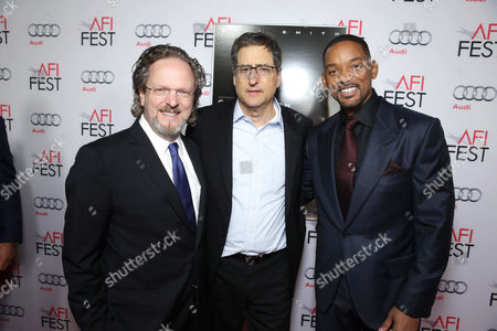 AFI President and CEO Bob Gazzale, Tom Rothman, Chairman, Sony Pictures Motion Picture Group, and Will Smith seen at World Premiere Gala Screening of Sony Pictures 'Concussion' at AFI Fest 2015 at TCL Chinese Theatre, in Hollywood, CA