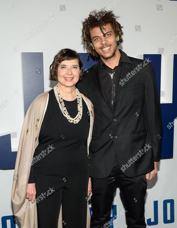 "Actress Isabella Rossellini and son Roberto Rossellini attend the world premiere of ""Joy"" at the Ziegfeld Theatre, in New York"