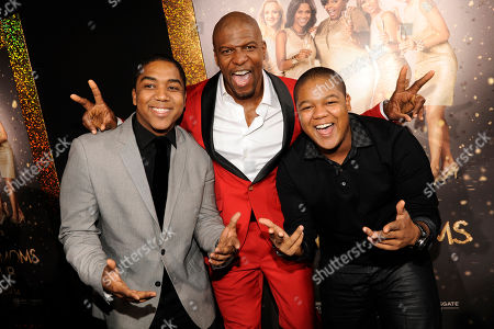 """From left, Christopher Massey, Terry Crews and Kyle Massey arrive at the world premiere of """"The Single Moms Club"""", in Los Angeles"""