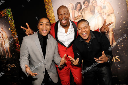 "From left, Christopher Massey, Terry Crews and Kyle Massey arrive at the world premiere of ""The Single Moms Club"", in Los Angeles"