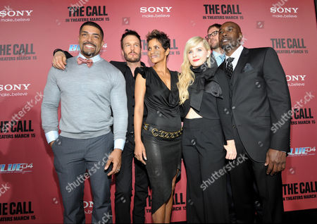 """From left, actors David Otunga, Michael Eklund, Halle Berry, Abigail Breslin, director Brad Anderson and actor Morris Chestnut arrive at the world premiere of """"The Call"""" at the Arclight Hollywood on in Los Angeles"""