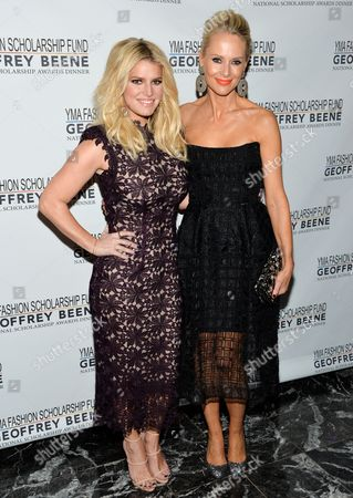 Fashion entrepreneur Jessica Simpson, left, and fashion-industry businesswoman Louise Camuto attend the YMA Fashion Scholarship Fund Geoffrey Beene National Scholarship Awards Dinner at the Marriott Marquis Times Square, in New York