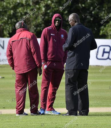 Ireland vs West Indies. West Indies' Jason Holder with Team Manager Joel Garner