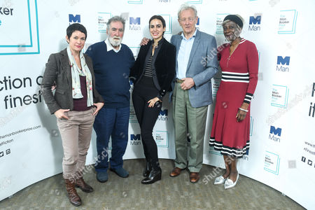 (L-R) Man Booker Prize judges Sarah Hall, Tom Phillips CBE RA, Baroness Lola Young (Chair), Colin Thubron CBE and Lila Azam Zanganeh