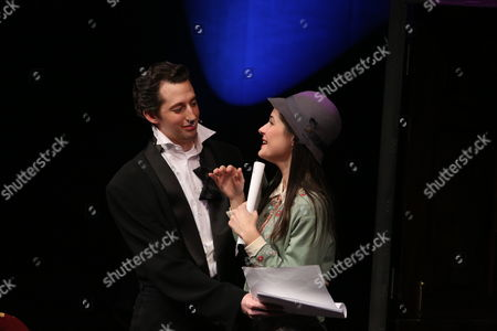 """Stock Picture of From left, cast members Josh Frisetti and Sara Niemietz perform during a staged reading of """"Enter Laughing, The Musical"""" to benefit Center Theatre Group at the Mark Taper Forum on in Los Angeles, Calif"""
