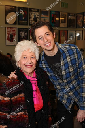 "From left, actress Charlotte Rae and cast member Josh Grisetti pose backstage after during a staged reading of ""Enter Laughing, The Musical"" to benefit Center Theatre Group at the Mark Taper Forum on in Los Angeles, Calif"