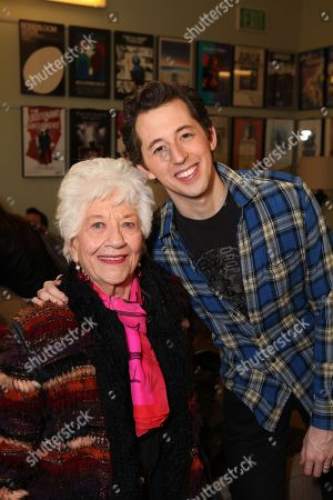"From left, actress Charlotte Rae and cast member Josh Grisetti pose during a staged reading of ""Enter Laughing, The Musical"" to benefit Center Theatre Group at the Mark Taper Forum on in Los Angeles, Calif"