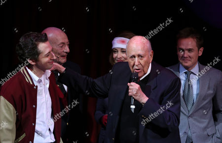 "From left, cast members Josh Grisetti, Alan Mandell, Sharon Lawrence, honoree Carl Reiner and cast member Kevin Odekirk during the curtain call for a staged reading of ""Enter Laughing, The Musical"" to benefit Center Theatre Group at the Mark Taper Forum on in Los Angeles, Calif"
