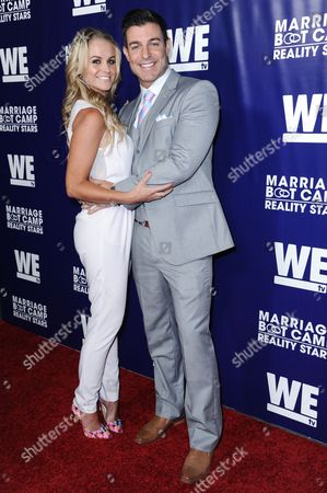 Jordan Lloyd, left, and Jeff Schroder arrive at the Marriage Boot Camp Reality Stars Premiere Party held at Hyde Sunset, in Los Angeles