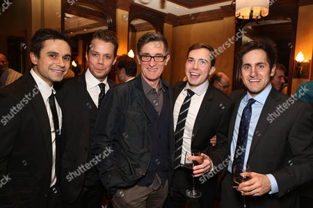 """From left, cast members Edward Tournier, Benjamin Schrader, Director Roger Rees and cast members Joey deBettencourt and Carl Howell pose during the party for the opening night performance of """"Peter and the Starcatcher"""" at the Center Theatre Group/Ahmanson Theatre, in Los Angeles, Calif"""