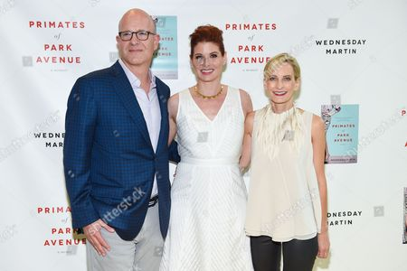 """Actress Debra Messing, middle, author Wednesday Martin, right, and Joel Moser attend the """"Primates Of Park Avenue"""" book release event at the Children's Museum of the East End in Bridgehampton, in New York"""