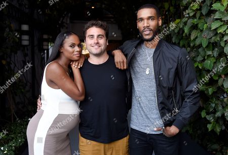 """Writer-director Richard Tanne, center, poses with cast member and producer Tika Sumpter, left, and cast member Parker Sawyers, from the film, """"Southside With You"""" at The London West Hollywood hotel in West Hollywood, Calif. The film opens in theaters on Friday, Aug. 26"""