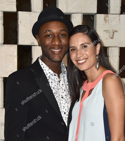 Aloe Blacc, left, and Maya Jupiter arrive at the 13th Annual Gala in the Garden at the Hammer Museum, in Los Angeles