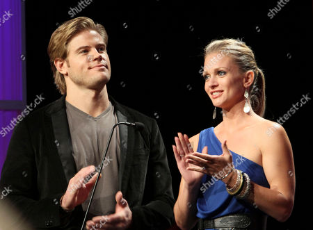 From left, Trevor Donovan and AJ Cook present during 2012 American Humane Association Hero Dog Awards held at the Beverly Hilton Hotel, in Los Angeles, Calif