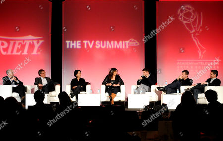 HOLLYWOOD, CA - MARCH 20: (L-R) Assistant Managing Editor, Features, Variety Stuart Levine, Executive Producer, Homeland Alex Gansa, Executive Producer, Dallas Cynthia Cidre, Executive Producer Suburgatory Emily Kapnek, Executive Producer, Parks and Recreation Mike Schur, Executive Prpducer Person of Interest Jonah Nolan and Executive Producer, Person of Interest Greg Plageman participate in the Showrunners Supersession at the 2012 TV Summit Presented by Variety and the Academy of Television Arts & Sciences Foundation at the Renaissance Hollywood Hotel on in Hollywood, California
