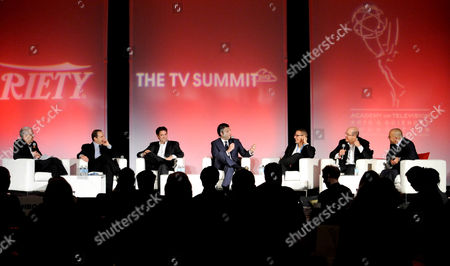 HOLLYWOOD, CA - MARCH 20: (L-R) Assistant Managing Editor, Features, Variety Stuart Levin, President, CKX Marc Graboff, EVP, Head of Programming, TBS, TNT and Turner Classic Movies (TMC) Michael Wright, CEO, Electus Chris Grant, President, HBO Programming Michael Lombardo, Co-President, USA Network & Co-Head, Original Content, Universal Cable Productions, Jeff Wachtel, and Head of Worldwide Television, ICM Ted Chervin participate in the State of the Global TV Industry portion of the 2012 TV Summit Presented by Variety and the Academy of Television Arts & Sciences Foundation at the Renaissance Hollywood Hotel on in Hollywood, California