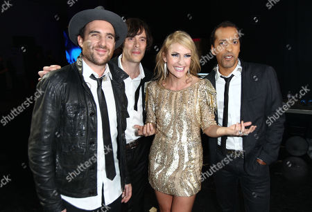 James Shaw, Joules Scott-Key, Emily Haines, and Josh Winstead of the musical group Metric, are seen backstage at VH1 Divas, at the Shrine Auditorium in Los Angeles