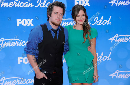 "Stock Image of Lee DeWyze and wife Jonna Walsh arrive at the ""American Idol"" finale at the Nokia Theatre at L.A. Live, in Los Angeles"