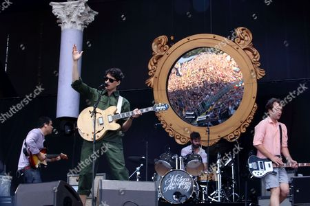 Rostam Batmanglij, Ezra Koenig, Chris Tomson, and Chris Baio with Vampire Weekend performs on day 1 of the 2013 Austin City Limits Music Festival at Zilker Park on in Austin Texas