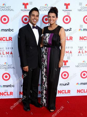 Erik Rivera, left, and Katie Rivera arrive at the NCLR ALMA Awards at the Pasadena Civic Auditorium, in Pasadena, Calif