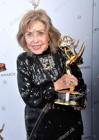 June Foray poses for a portrait at the 2013 Primetime Creative Arts Emmy Awards, on at Nokia Theatre L.A. Live, in Los Angeles, Calif