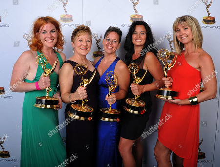 From left, Jennifer Serio Stauffer, Inga Thrasher, Bettie O. Rogers, Jodi Mancuso, and Cara Hannah Sullivan pose for a portrait at the 2013 Primetime Creative Arts Emmy Awards, on at Nokia Theatre L.A. Live, in Los Angeles, Calif