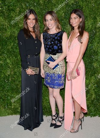 Model Alessandra Ambrosio, left, designer Brett Heyman and model Lily Aldridge attend the 11th Annual CFDA/Vogue Fashion Fund Dinner event at Spring Studios, in New York