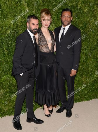 Designer Ramon Martin, left, actress Melissa George and designer Ryan Lobo attend the 11th Annual CFDA/Vogue Fashion Fund Dinner event at Spring Studios, in New York