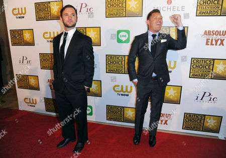 Austin Hebert, left, and Lane Garrison arrive at the Critics' Choice Television Awards at the Beverly Hilton Hotel, in Beverly Hills, Calif