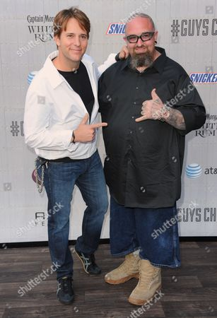 "Allen Lee Haff, left, and Clinton ""Ton"" Jones arrive at the Guys Choice Awards at Sony Pictures Studios, in Culver City, Calif"