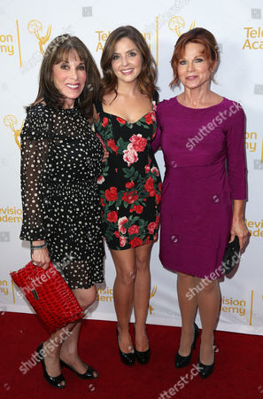 Kate Linder, and from left, Jen Lilley and Patsy Pease arrive at the Television Academy's 66th Emmy Awards Performers Peer Group Celebration at the Montage Beverly Hills, in Beverly Hills, Calif