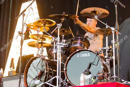 Drummer James Cassells of Asking Alexandria performs at the Rockstar Energy Drink Mayhem Festival at San Manuel Amphitheater on in San Bernardino, California
