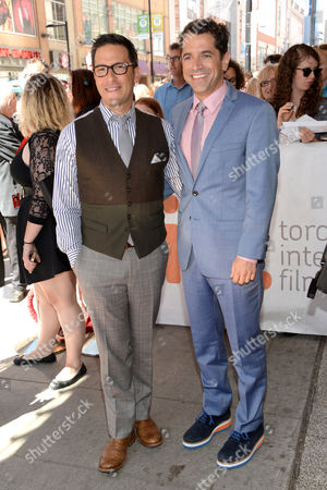 """Ben Barnz, left, and Daniel Barnz attend the premiere for """"Cake"""" on day 5 of the Toronto International Film Festival at the Elgin Theatre, in Toronto"""