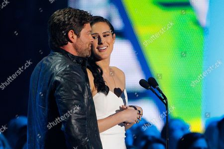 Stock Image of Noah Galloway, left, and Rumer Willis present the award for duo video of the year at the CMT Music Awards at Bridgestone Arena, in Nashville, Tenn