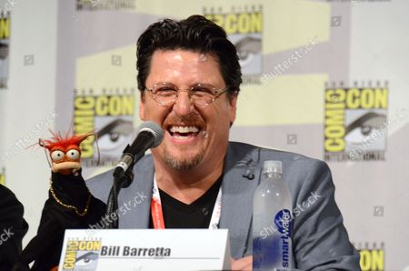 "Pepe the King Prawn, left, and puppeteer Bill Barretta attend ""The Muppets"" panel on day 3 of Comic-Con International, in San Diego"