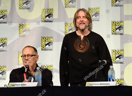 "Dave Goelz, left, and Steve Whitmire attend ""The Muppets"" panel on day 3 of Comic-Con International, in San Diego"