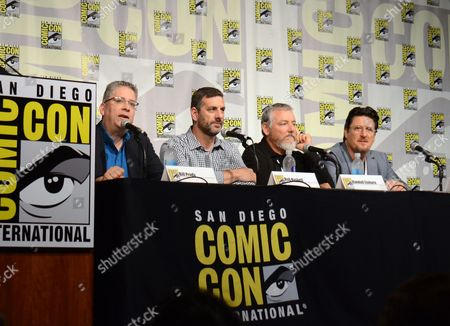 "Bill Prady, from left, Bob Kushell, Randall Einhorn, and Bill Barretta attend ""The Muppets"" panel on day 3 of Comic-Con International, in San Diego"