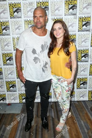 """Manu Bennett, left, and Ivana Baquero attend the """"The Shannara Chronicles"""" press line on day 2 of Comic-Con International, in San Diego"""