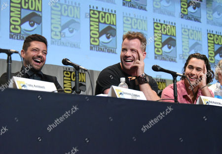 """Dominic Cooper, from left, Robert Kazinsky, and Ben Schnetzer attend the """"Warcraft"""" panel on day 3 of Comic-Con International, in San Diego"""