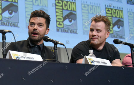 """Dominic Cooper, left, and Robert Kazinsky attend the """"Warcraft"""" panel on day 3 of Comic-Con International, in San Diego"""