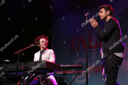 Ian Axel, left, and Chad Vaccarino of A Great Big World perform at the Fresh 102.7 Fall Fest at the Theater at Madison Square Garden, in New York