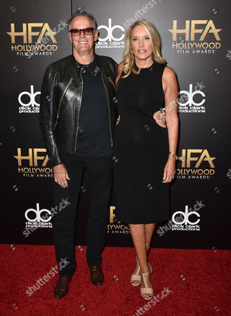 Peter Fonda, left, and Parky Fonda arrive at the Hollywood Film Awards at the Beverly Hilton Hotel, in Beverly Hills, Calif