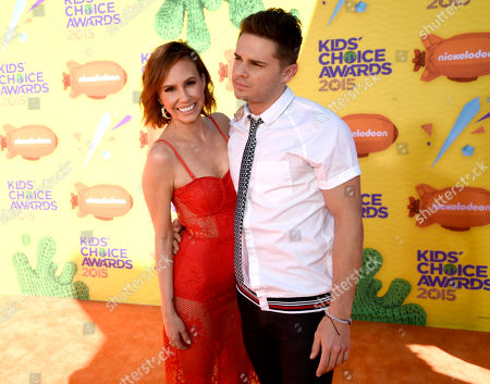 Keltie Knight, left, and Justin James Hughes arrive at Nickelodeon's 28th annual Kids' Choice Awards at The Forum, in Inglewood, Calif