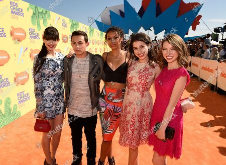Stock Image of Elizabeth Elias, from left, Tyler Alvarez, Denisea Wilson, Zoey Burger, and Autumn Wendel arrive at Nickelodeon's 28th annual Kids' Choice Awards at The Forum, in Inglewood, Calif
