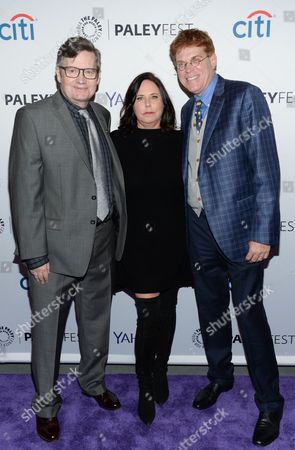 """Executive producer Joe Dougherty, left, creator I. Marlene King and executive producer Oliver Goldstick pose together at the 2015 PaleyFest New York """"Pretty Little Liars"""" panel discussion at The Paley Center for Media, in New York"""